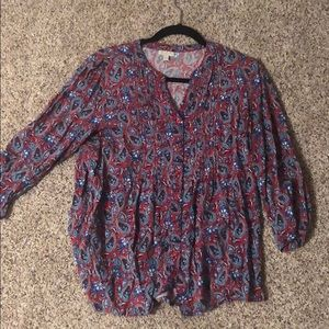 Red & blue patterned work shift from Talbots